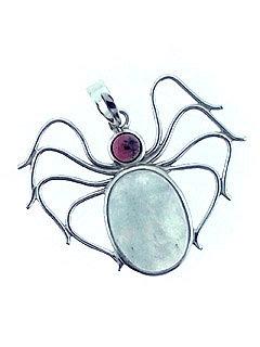 Moonstone and Garnet Spider Pendant