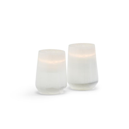 Healing Selenite Polished Candle Holder Set Of 2 from Morocco