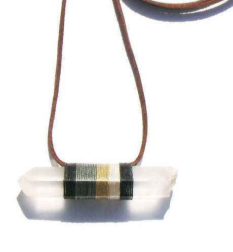RAW QUARTZ CRYSTAL NECKLACE WITH NEUTRAL COLORED THREAD AND BROWN LEATHER STRAP