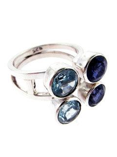 Multi Gem Ring with Amethyst & Topaz