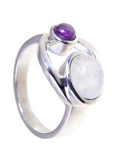Moonstone & Amethyst Goddess Ring