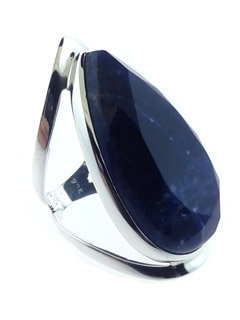 Faceted Sodalite Sterling Silver Ring