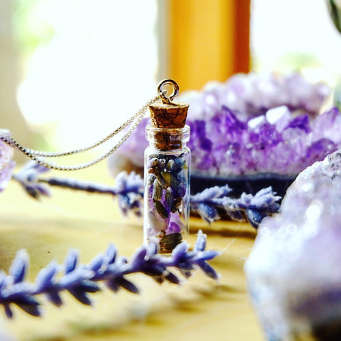 Calming Crystal + Herb Vial Necklace