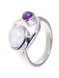 Goddess Amethyst Moonstone Ring