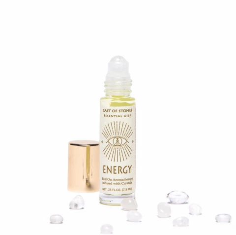 ENERGY - ESSENTIAL OIL ROLL ON AROMATHERAPY INFUSED W/ CRYSTALS