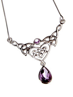 Amethyst Celtic Heart Pendant