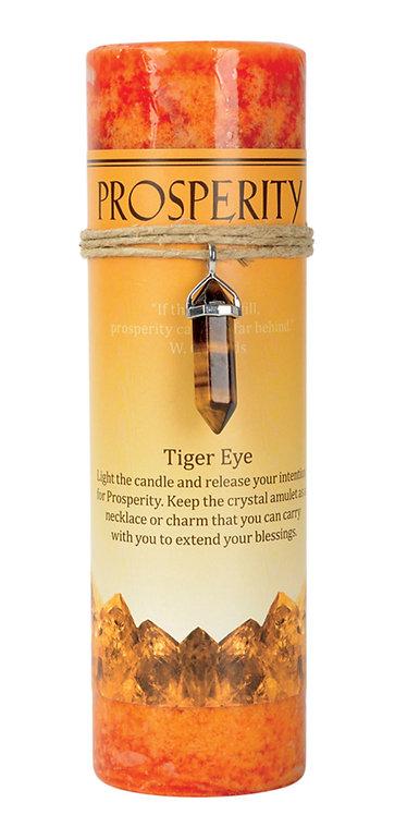 Prosperity Tiger Eye Crystal Energy Pendant Candle