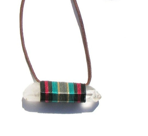 RAW QUARTZ CRYSTAL NECKLACE WITH MULTI COLORED THREAD