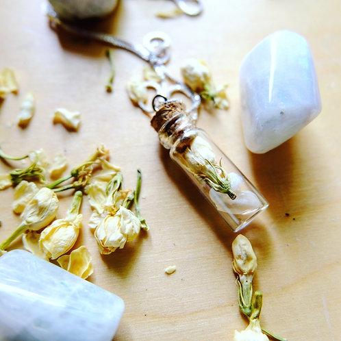 Feminine Power Crystal + Herb Vial Necklace
