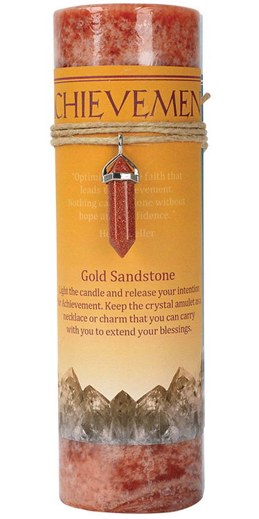 Achievement Gold Sandstone Crystal Energy Pendant Candle