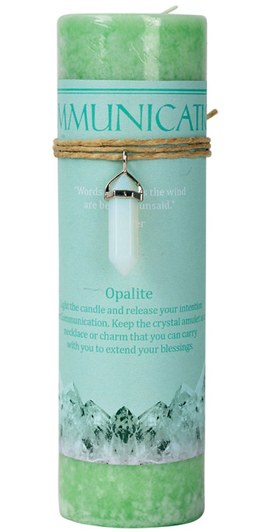 Communication Opalite Crystal Energy Pendant Candle