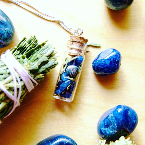 Dream State Crystal + Herb Vial Necklace