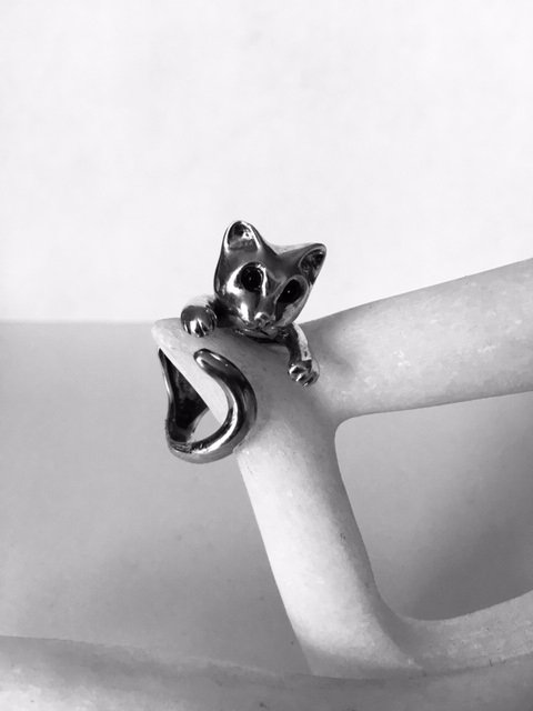 Sterling Silver Cat Adjustable Ring