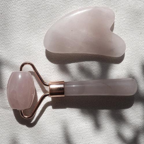 Rose Quartz Facial Roller small