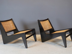 "Rare Pair of Pierre Jeanneret ""Kangourou"" Chairs, 1960"