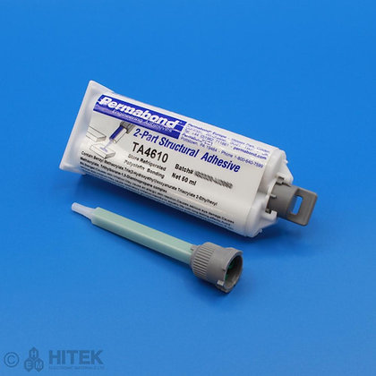 50ml dual cartridge of Permabond TA4610 acrylic adhesive with 90mm mixing nozzle