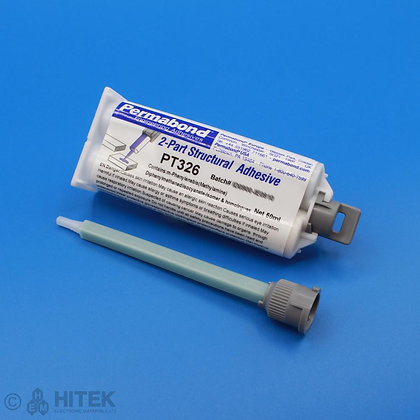 50ml dual cartridge of Permabond PT326 polyurethane adhesive with 120mm mixing nozzle
