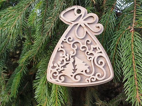 Vánoční ozdoba 38 - dvouvrstvá - zvonek