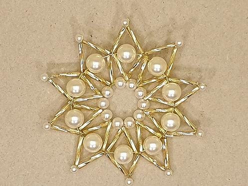 Vánoční ozdoba z korálků - hvězda L. zlato-bílá