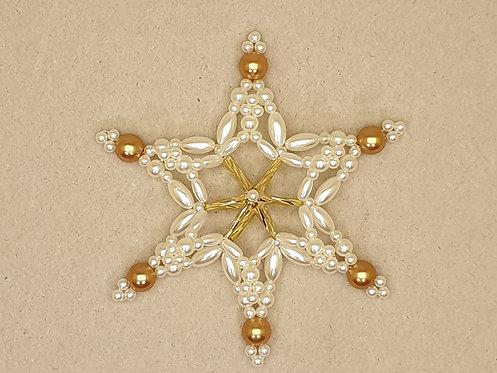 Vánoční ozdoba z korálků - hvězda M. zlato-bílá