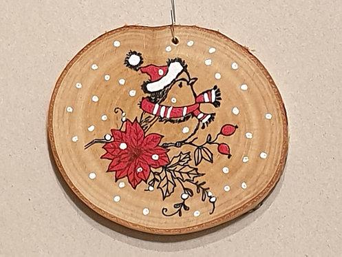 Malované kolečko z březového špalku - ptáček s kulichem