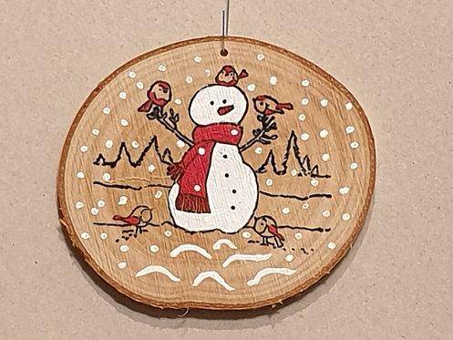 Malované kolečko z březového špalku - sněhulák