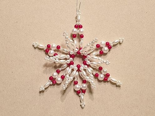 Vánoční ozdoba z korálků - hvězda E. červeno-bílá