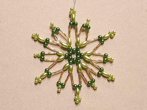 Vánoční ozdoba z korálků - hvězda I. světle + tmavě zelená-zlatá