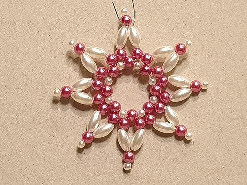 Vánoční ozdoba z korálků - hvězda C. růžovo-bílá