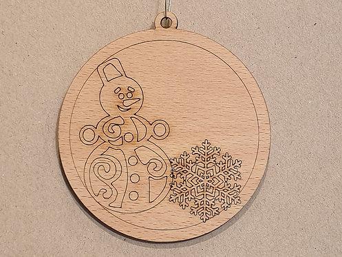 Vánoční ozdoba 22 - gravírovaný sněhulák s vločkou
