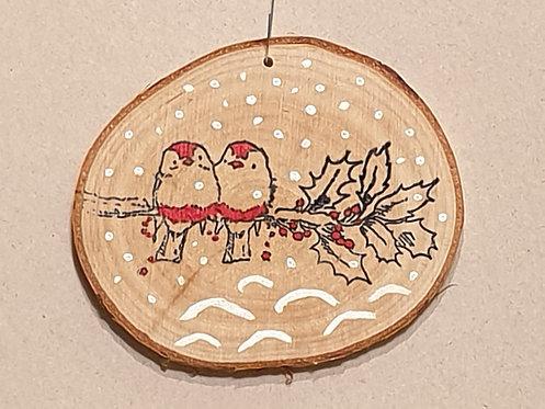 Malované kolečko z březového špalku - ptáčci