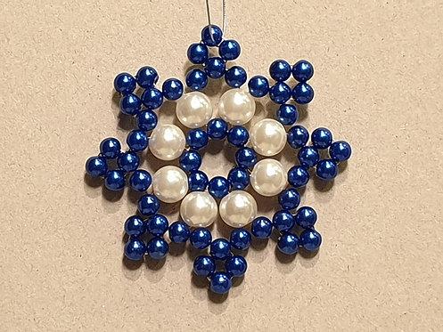Vánoční ozdoba z korálků - hvězda B. modro-bílá