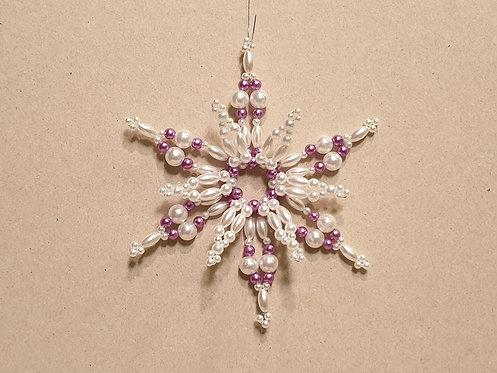 Vánoční ozdoba z korálků - hvězda E. fialovo-bílá