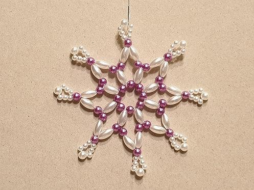 Vánoční ozdoba z korálků - hvězda A. fialovo-bílá