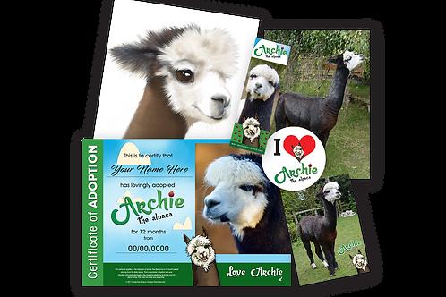 Archie The Alpaca Adoption Pack