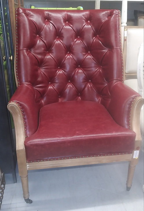 Tufted Red Leather Chair