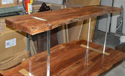 Acacia Live Edge Console Table with Acrylic Legs