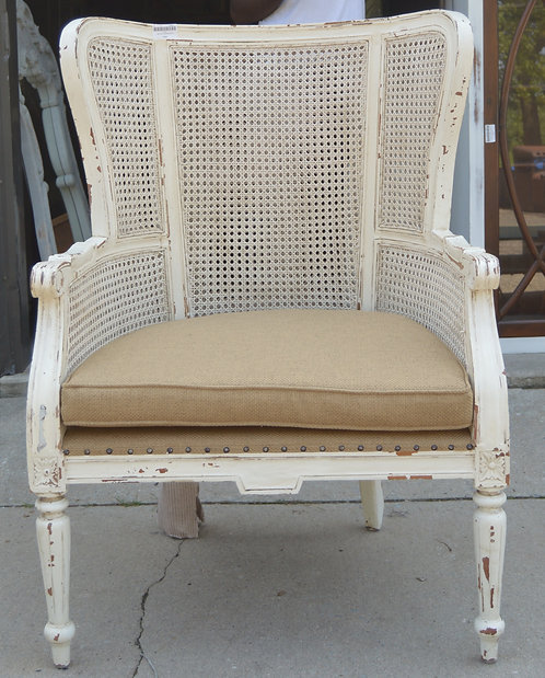 WING BACK CHAIR WITH RATTAN