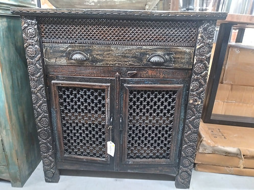 Carved Wood & Iron 1 Drawer 2 Door 2 Shelf Cabinet