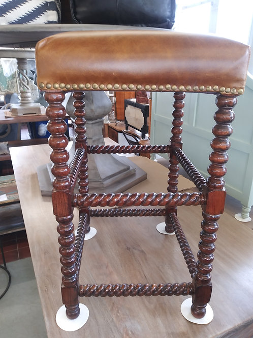 Wood and leather bobbin leg stool