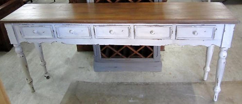 Shabby Chic Wood Console Table 5 Drawers