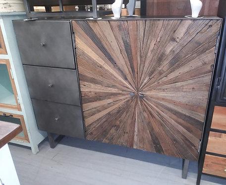 2054 Wood & Iron 3 Drawer 2 Door 2 Shelf Sideboard Cabinet