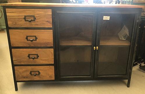 2 Door 4 Drawer Glass Cabinet