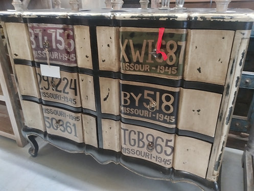 Funky License Plate Chest of 6 Drawers