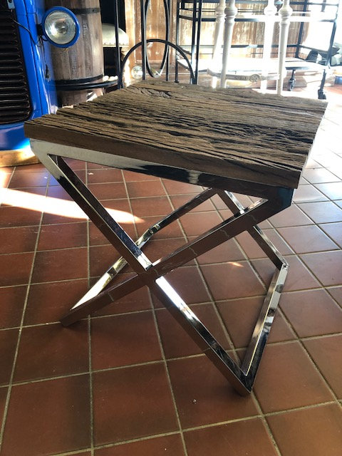 Iron and Teak Sleeper Side Table
