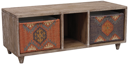 Wood cabinet with 2 Kilim covered baskets
