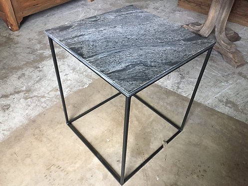 Black Stone End Table