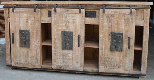 Wood Sideboard with 3 Sliding Doors