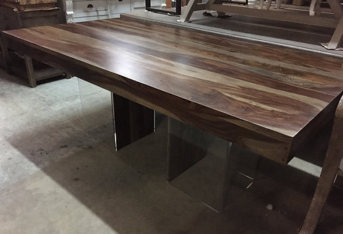 Acacia Dining Table with Acrylic Square Legs