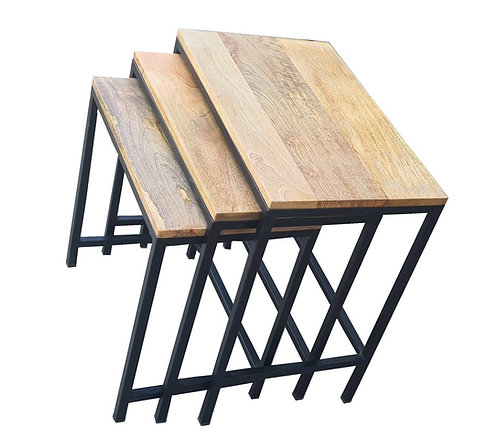 Square Nesting Tables Set of 3 Natural Wood